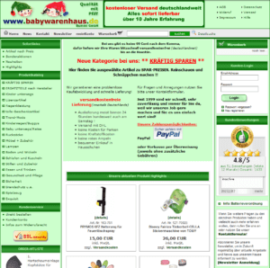 Screenshot der alten Webseite babywarenhaus.de